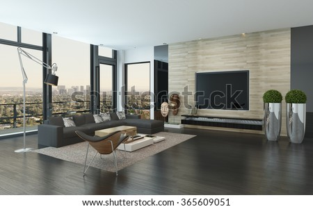 Spacious Modern Living Room With Dark Grey And White Decor Overlooking The  City Through Panoramic Floor