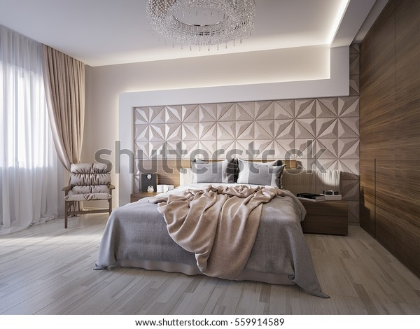Spacious Modern Master Bedroom Leather Wall Stock ...