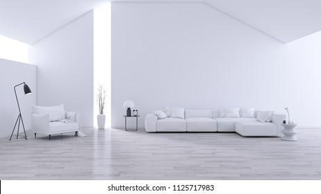 Spacious Modern and minimalis Living Room , black & white interior design  ,3d rendering