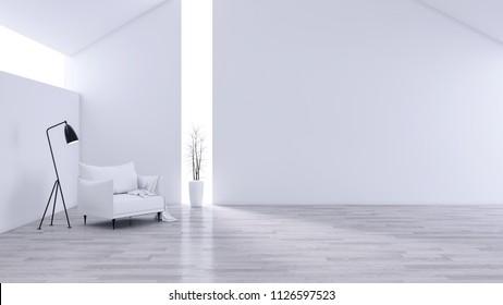 Spacious Modern and minimalis Living Room, black & white interior design  ,White sofa on wood flooor ,3d rendering