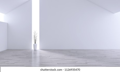 Spacious Modern and minimalis Living Room, black & white interior design  ,empty space ,3d rendering