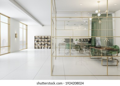 Spacious office with green and gold interior, cabinet with glass wall and perfect furniture. 3D rendering