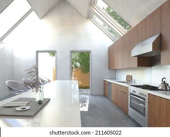 Spacious open-plan kitchen with a bar counter, modern modular stools, built in wooden cabinets and appliances in a high volume house with skylights