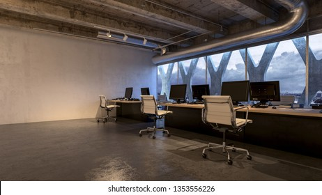 Spacious room of business office with several workplaces at panoramic window of the building and copy space to the side on the empty wall. 3D render interior design concept