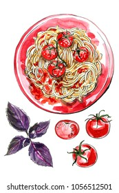 Spaghetti. Pasta painted watercolor on a white background. Colorful sketch of food. Italian food. Tomatoes.