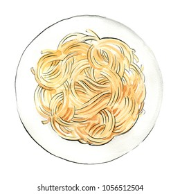 Spaghetti. Pasta painted watercolor on a white background. Colorful sketch of food. Italian food.