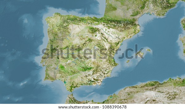 Satellite Map Of Spain.Spain Area On Satellite Map Stereographic Stock Illustration 1088390678