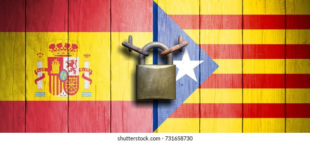 Spain and Catalonia relations. Spain and Catalonia flags on wooden door with padlock. 3d illustration