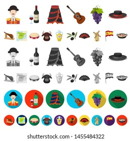 Spain country cartoon icons in set collection for design.Travel and attractions bitmap symbol stock web illustration.