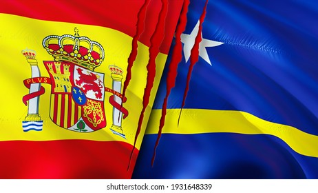 Spain and Curacao flags with scar concept. Waving flag,3D rendering. Spain and Curacao conflict concept. Spain Curacao relations concept. flag of Spain and Curacao crisis,war, attack concept