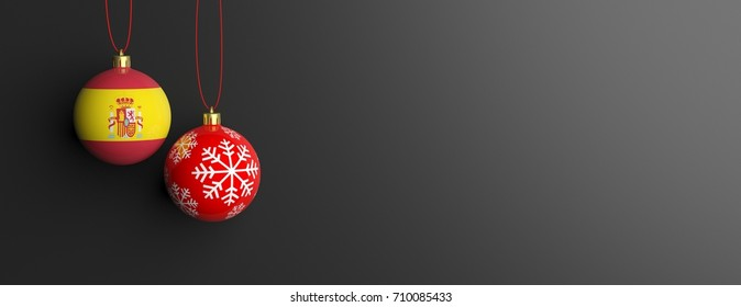 Spain flag and a christmas ball on gray black background, copy space, banner. 3d illustration