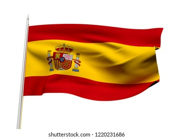 Spain flag floating in the wind with a White sky background. 3D illustration.