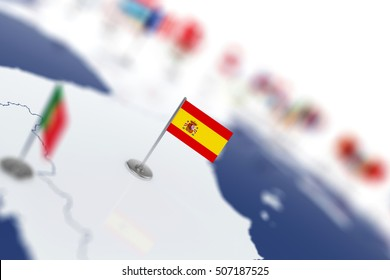 Spain flag in the focus. Europe map with countries flags. Shallow depth of field 3d illustration rendering isolated on white background