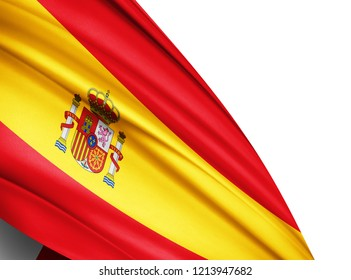 Spain  flag of silk with copyspace for your text or images and white background-3D illustration