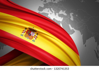 Spain flag of silk with copyspace for your text or images and world map background-3D illustration