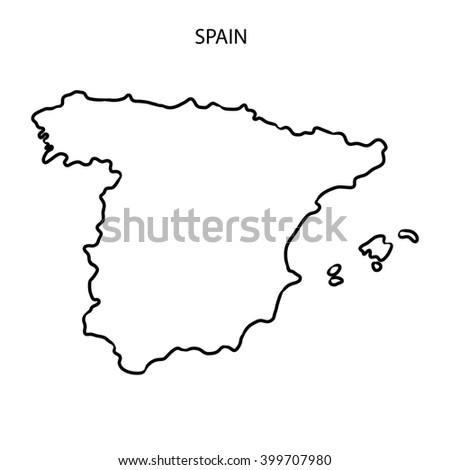Spain Map Outline Stock Illustration 399707980 Shutterstock