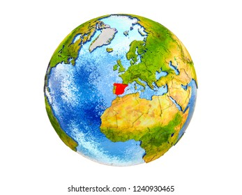 Spain on 3D model of Earth with country borders and water in oceans. 3D illustration isolated on white background.