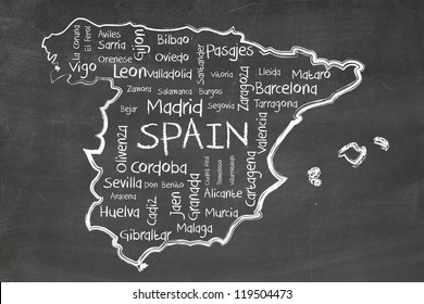 spain on blackboard