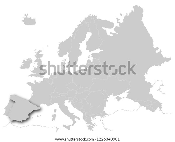 Spain Map Of Europe.Spain On Map Europe Stock Illustration 1226340901