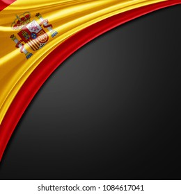 Spain  of silk with copyspace for your text or images and black background -3D illustration