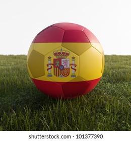 spain soccer ball isolated on grass