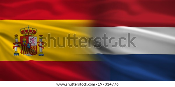 Spain vs Holland flags concept for soccer (football) matches