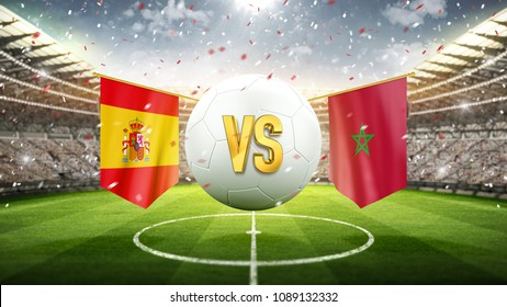 Spain vs Morocco. Soccer concept. White soccer ball with the flag in the stadium, 2018. 3d render