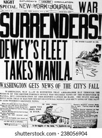 The Spanish American War (April-August 1898), Dewey's Fleet Takes Manila, May 2, 1898 issue of the New York Journal describing the destruction by Commodore Dewey's fleet.