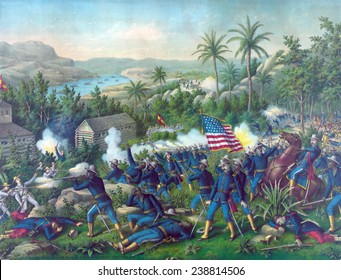 The Spanish American War The Battle of Las Guasimas The 9th and 10th colored cavalry in support of rough riders near a Spanish position in the jungles surrounding Santiago
