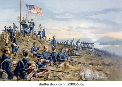 The Spanish American War, first hoisting of the American flag by U.S. marines on Cuban soil, June 11, 1898