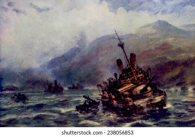 The Spanish American War, the Spanish fleet sunk off the shore of Cuba, painting by Robert Hopkin, 1898