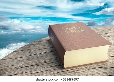 Spanish Bible on sky background, 3d illustration.