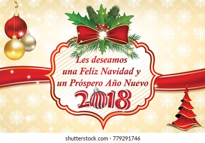 spanish business merry christmas and a happy new year 2018 greeting card with text written