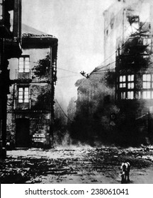 Spanish Civil War (1936- 1939), the destruction of the Spanish town of Guernica by German Bombers, 1937.