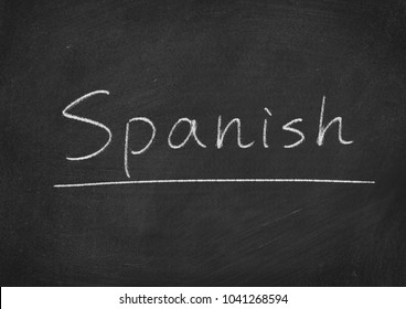 Spanish concept word on a blackboard background