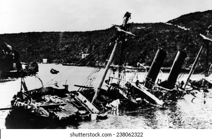 Spanish fleet sunk bay the U.S. naval squadron commanded by George Dewey in Manila Bay, Philippines during the Spanish-American War, 1898.