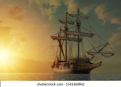 Spanish galleon ship on the open seas by shining sunset. 3D Illustration.