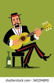 Spanish Guitar player - Retro illustration