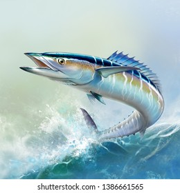 Spanish Mackerel wahoo fish big fish on the background of the waves realistic illustration.  A large mackerel fish jumps out of the water.