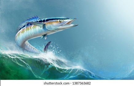 Spanish Mackerel wahoo fish big fish on the background of the waves realistic illustration.  A large mackerel fish jumps out of the water place for text.