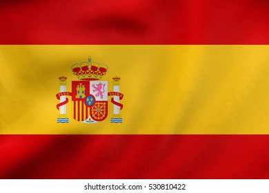 Spanish national official flag. Patriotic symbol, banner, element, background. Correct colors. Flag of Spain waving in the wind, real detailed fabric texture. 3D illustration