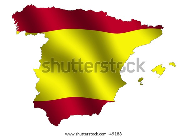 Spanish outline with waving flag as background