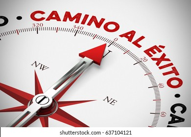 """Spanish slogan """"camino al éxito"""" (road to success) on compass as motivation (3D Rendering)"""