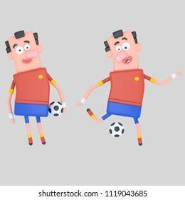 Spanish Soccer Player. 3d illustration