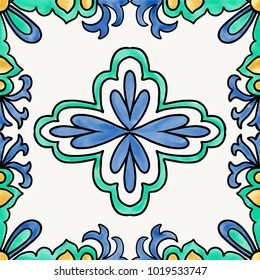 Spanish tile with flourish pattern in traditional style