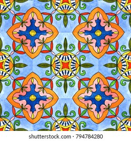 Spanish tile seamless pattern. Watercolor painting. Tiled print for wrapping, background or ceramic.