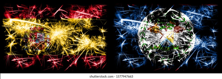 Spanish vs Belize, Belizean New Year celebration sparkling fireworks flags concept background. Combination of two abstract states flags.