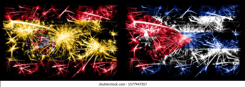 Spanish vs Cuba, Cuban New Year celebration sparkling fireworks flags concept background. Combination of two abstract states flags.