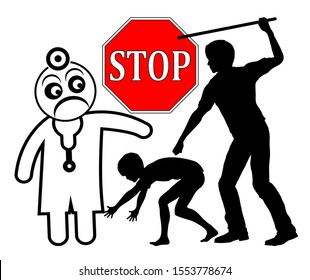 Spanking harms the health of child. Stop corporal punishment which can cause mental and physical damage to young people according to doctors