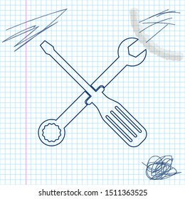 Spanner and screwdriver tools line sketch icon isolated on white background. Service tool symbol